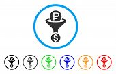 Rouble Currency Conversion rounded icon. Style is a flat rouble currency conversion grey symbol inside light blue circle with black, gray, green, blue, red, orange variants. poster