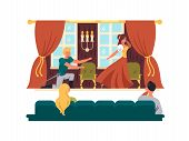 Theatrical performance on stage. Actors play drama in theater. Vector illustration poster