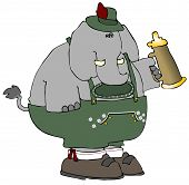 This illustration depicts an elephant dressed in traditional German attire. poster