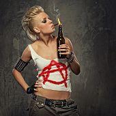 Punk girl smoking a cigarette poster