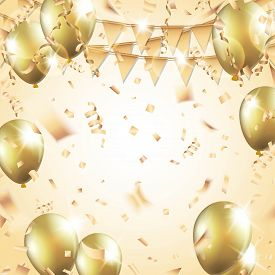 Gold balloons, confetti, streamers and party flag on gold background. Vector illustration.