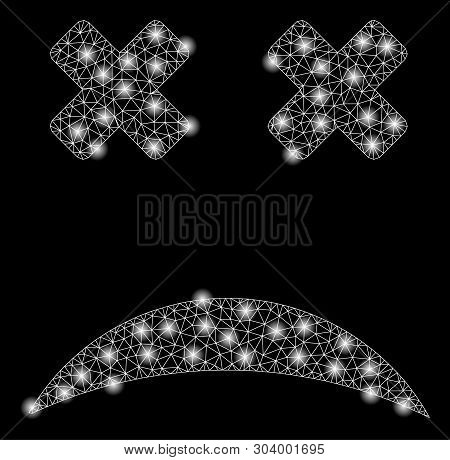 Bright Mesh Blind Smiley With Glow Effect. Abstract Illuminated Model Of Blind Smiley Icon. Shiny Wi