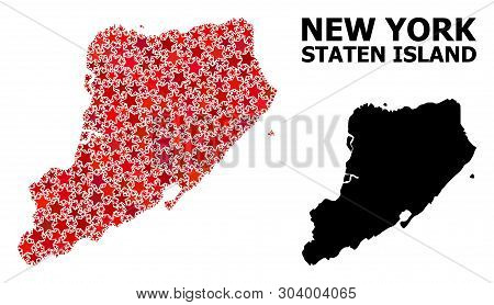 Red Star Mosaic And Solid Map Of Staten Island. Vector Geographic Map Of Staten Island In Red Color