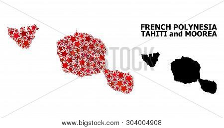 Red Starred Mosaic And Solid Map Of Tahiti And Moorea Islands. Vector Geographic Map Of Tahiti And M