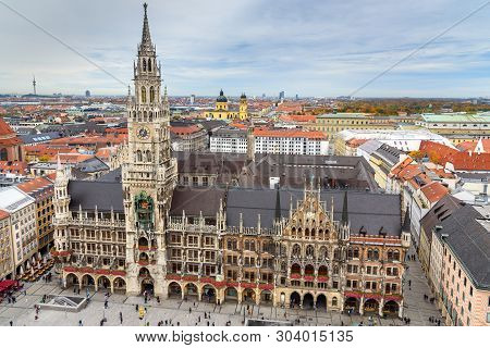 poster of Aerial cityscape of Munich historical center with New Town Hall, town hall on Marienplatz. Munich. Germany