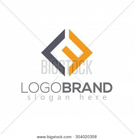 L F Initial Letter Square Logo Vector Element Template