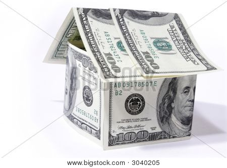 House Made From Dollars On White Background