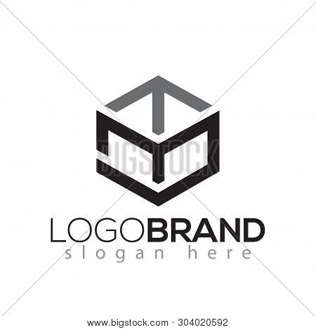 M T S Letter Initial With Box Line Logo Vector Element. Box Logo Template