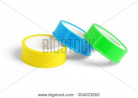 Three Rolls of Thread Seal Tapes on White Background