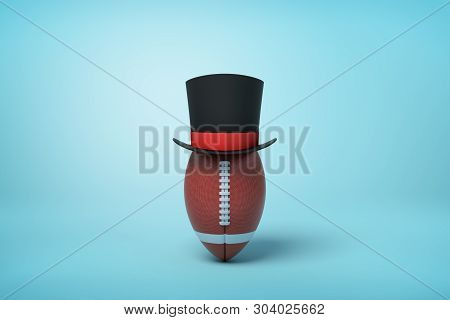 3d Rendering Of Brown Oval Ball Wearing Black Tophat With Much Copy Space On The Rest Of Light Blue
