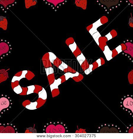 Sale Lettering In White, Black And Red Colors. Seamless Pattern. Collection With Style Backgrounds F