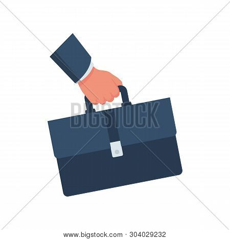 Businessman Holding A Briefcase In Hand. Business Cartoon Icon. Concept Management. Vector Illustrat