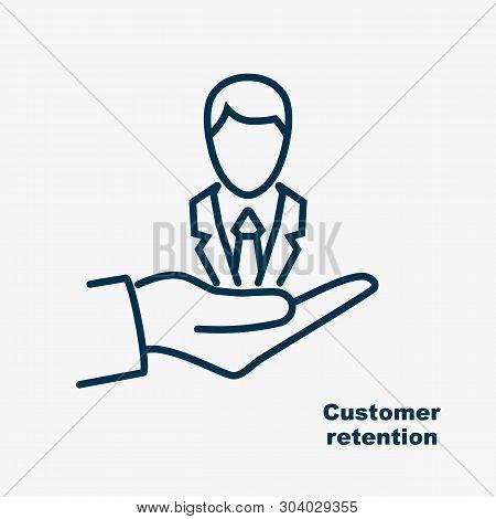 Customer Retention Black Line Icon. Customer Care. Providing Save Customer Loyalty. Vector Illustrat