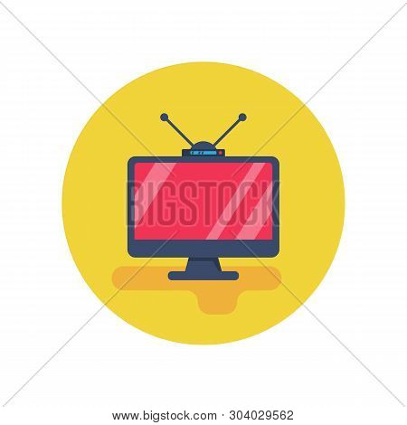 Television Flat Icon. Video Technology. Analog Tv With Tuner And Antenna. High Definition Display. V
