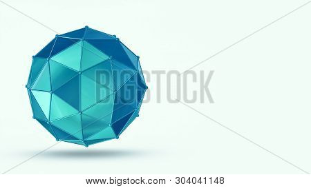 Abstract Geometric Shape, Copyspace, White Background (3d Render)