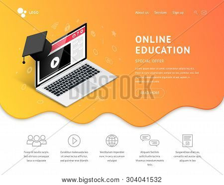 Online Education Landing Page Design Concept. Online Learning, Webinar, Distance Education, E-learni