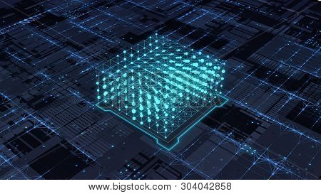 Abstract Futuristic Circuit Board With A Central Processing Unit (3d Render)