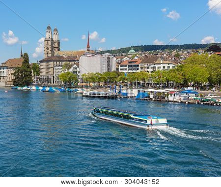 Zurich, Switzerland - May 30, 2019: Buildings Of The Historic Part Of The City Of Zurich, The Turicu