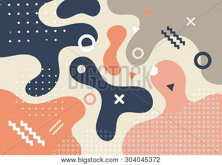 Abstract Geometric Shapes And Forms Trendy Fashion Memphis Style 80s-90s Style Card Design Backgroun