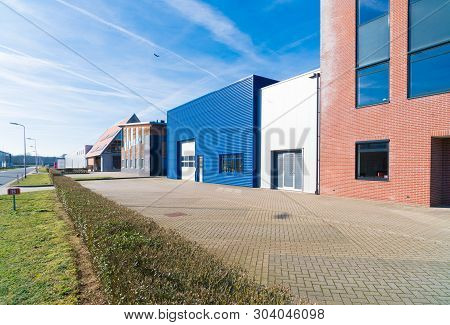 Exterior Of A Modern Blue Business Unit In The Netherlands