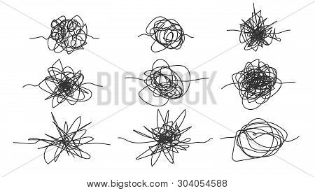 Monochrome Freehand Drawn Scrawl Sketch Set Vector. Collection Of Black And White Design Abstract Sc