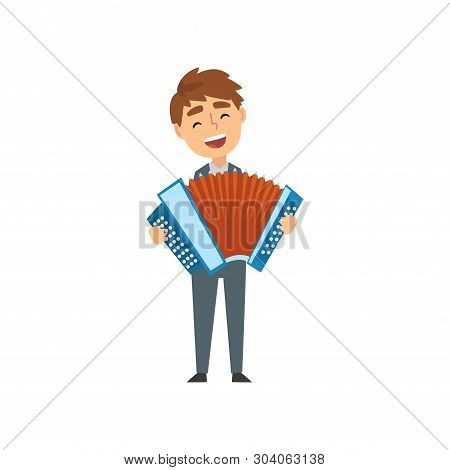 Boy Playing Accordion, Talented Young Accordionist Character Playing Acoustic Musical Instrument At