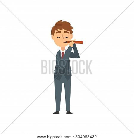 Boy Playing Flute, Talented Young Flutist Character Playing Brass Musical Instrument Vector Illustra