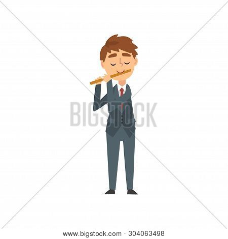Boy Playing Flute, Talented Young Flutist Character Playing Musical Instrument At Concert Of Classic
