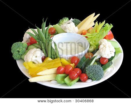 Vegetable platter, isolated, with clipping path