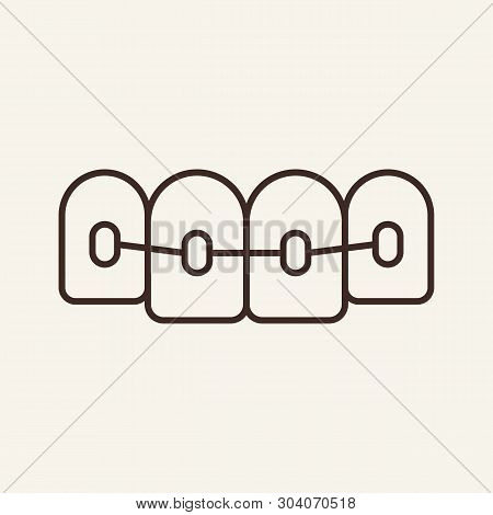 Braces Line Icon. Tooth, Mouth, Orthodontic Equipment. Stomatology Concept. Vector Illustration Can