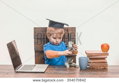 Science. Biology. Experiment. Education. Study. Modern Technology Concept. Thoughtful Smart Boy Work