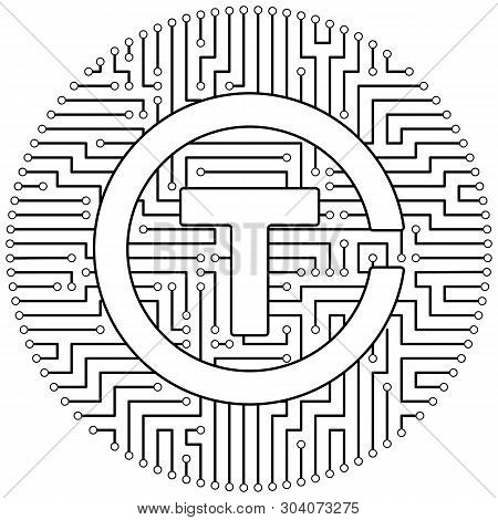 Trezarcoin - Cryptocurrency Coin. Vector Thin Line Design Single Isolated Icon. Lineart Illustration