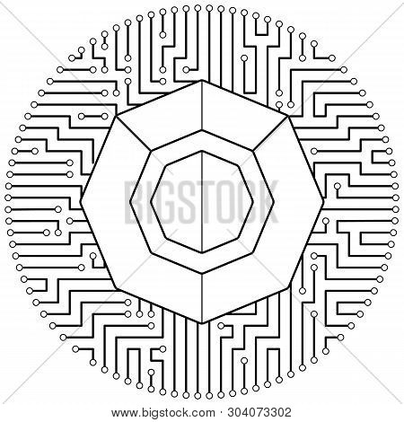 Komodo - Cryptocurrency Coin. Vector Thin Line Design Single Isolated Icon. Lineart Illustration On