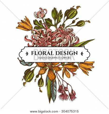 Floral Bouquet Design With Colored Japanese Chrysanthemum, Blackberry Lily, Eucalyptus Flower