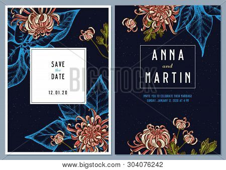 Dark Wedding Invitation Card With Colored Japanese Chrysanthemum