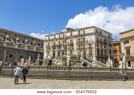 Palermo, Italy - May 10, 2018: Praetorian Fountain (italian: Fontana Pretoria) On Piazza Pretoria In