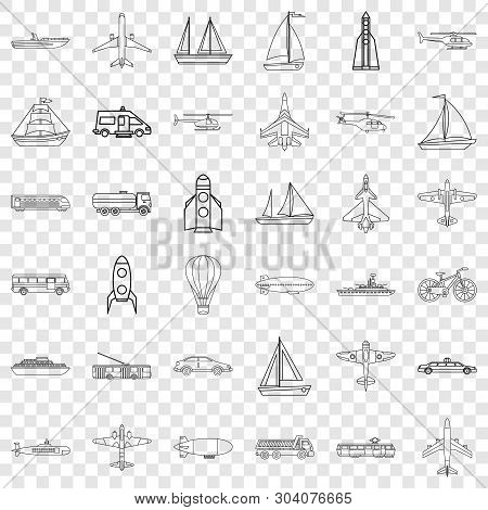 Blimp Icons Set. Outline Style Of 36 Blimp Vector Icons For Web For Any Design
