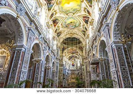 Church Of The Gesu (chiesa Del Gesu) In Palermo, Sicily, Italy