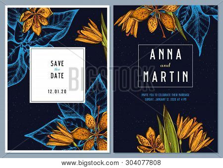 Dark Wedding Invitation Card With Colored Blackberry Lily