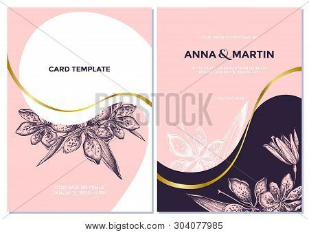 Wedding Invitation Card With Pink Blackberry Lily
