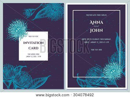 Wedding Invitation Card With Blue Eucalyptus Flower
