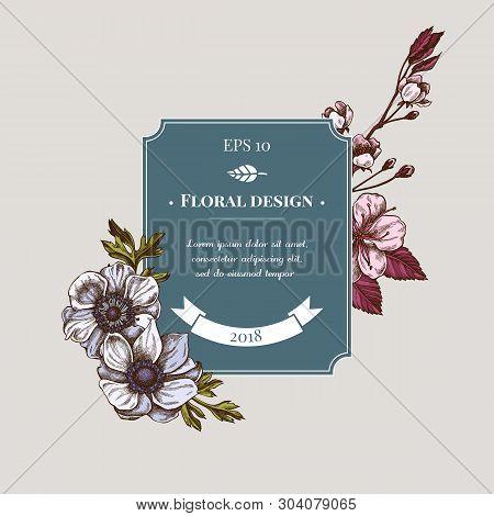 Badge Design With Colored Anemone, Iris Japonica, Sakura