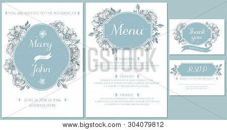 Wedding Invitation Card With Light Blue Anemone