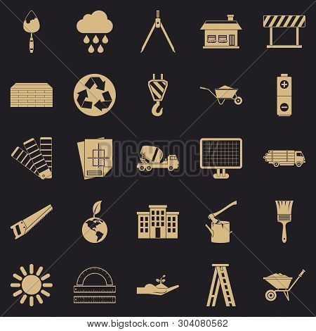 Construction Site Icons Set. Simple Set Of 25 Construction Site Vector Icons For Web For Any Design