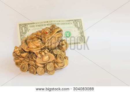 Cash Mascot - Chan Chu - A Gold Frog Figurine Sitting On Coins Isolated On White Background With Dol