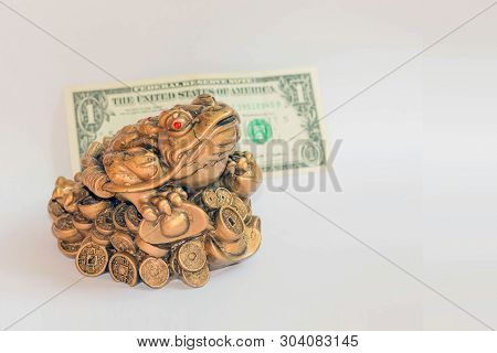Cash Mascot - Chan Chu - A Copper Frog Figurine Sitting On Coins Isolated On White Background