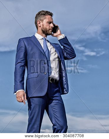Entrepreneur Control Business Remotely By Phone Call Outdoors. Asking For Assistance. Businessman Ca