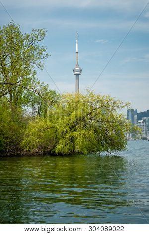 Toronto, Ontario, Canada / May 26 2018: Toronto Waterfront From Lake Ontario