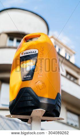 Paris, France - Mar 3, 2017: Butane Shesha Total Gas Butane Gas Bottle 10kg On Presentation Stand In