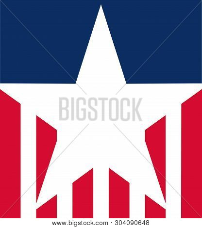 Stylised Usa Flag Icon, Ideal For Fourth Of July Celebrations, Graphics Or Other Uses.